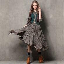 852094e4143 Retro Ethnic Style Print Cotton Linen Long Dress Women Fake Two Piece Tunic  Combo Dresses Femlae