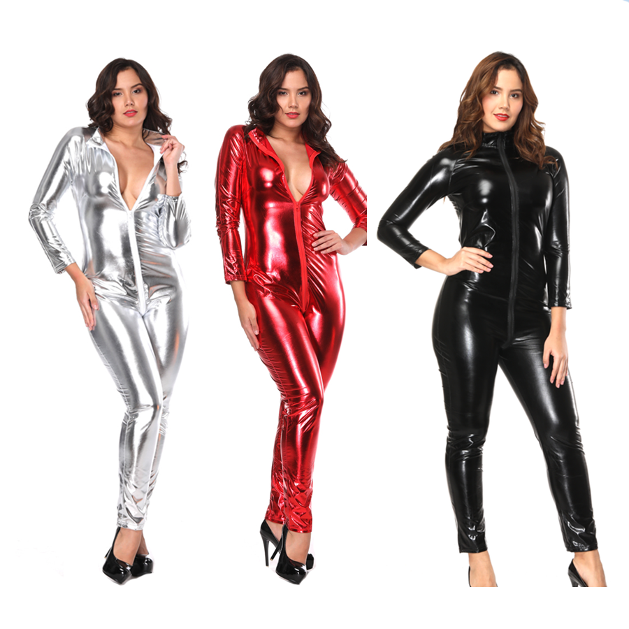 Hot Sexy Black Catwomen Jumpsuit PVC Spandex Latex Catsuit Costumes for Women Body Suits Fetish Leather Dress Plus Size 3XL 6XL