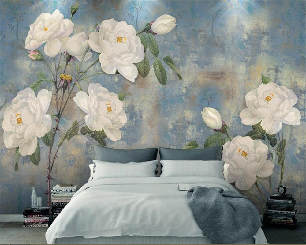 Beibehang 3d Wallpaper Murals Vintage Watercolor Flower Background Wall Hand-painted Oil Painting White Roses 3d Wallpaper