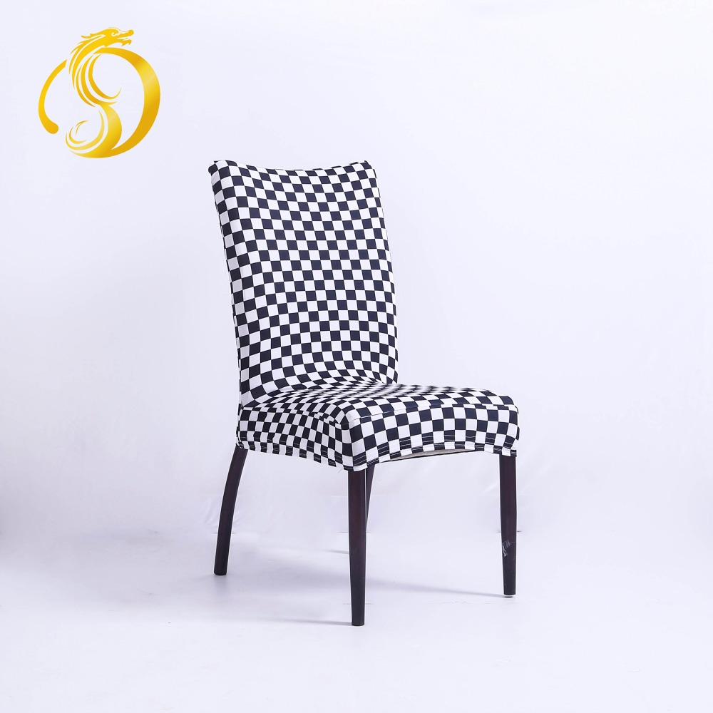 1 Piece Cheap Black White Stretch Chair Covers Spandex