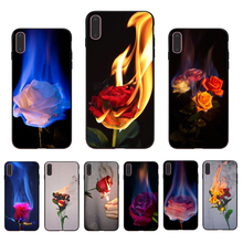 IMIDO Fire rose  Case Soft Silicone Cellphones For Iphone 5 5S SE 6 6S 6PLUS 6SPLUS 7 8 7PLUS 8PLUS X XS XR XSMAX imido big money 100 dollars design case soft silicone cellphones for iphone 5 5s se 6 6s 6plus 7 8 7plus 8plus x xs xr xsmax