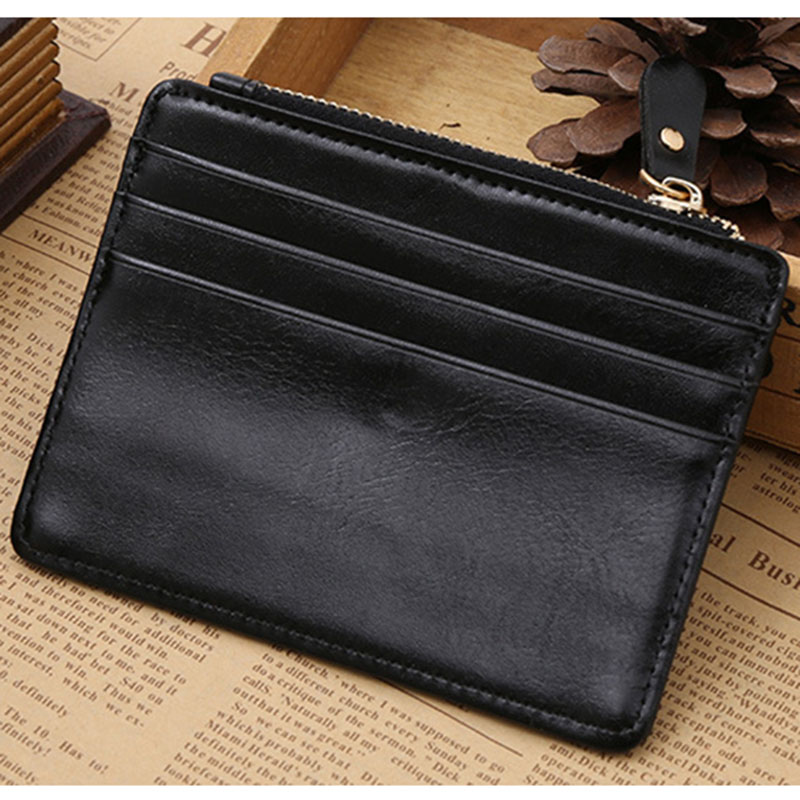 6871640479d6 US $5.5 |Quality Assurance pu leather card wallet with zipper pocket casual  small wallet mini pure man hasp credit card holder-in Wallets from Luggage  ...
