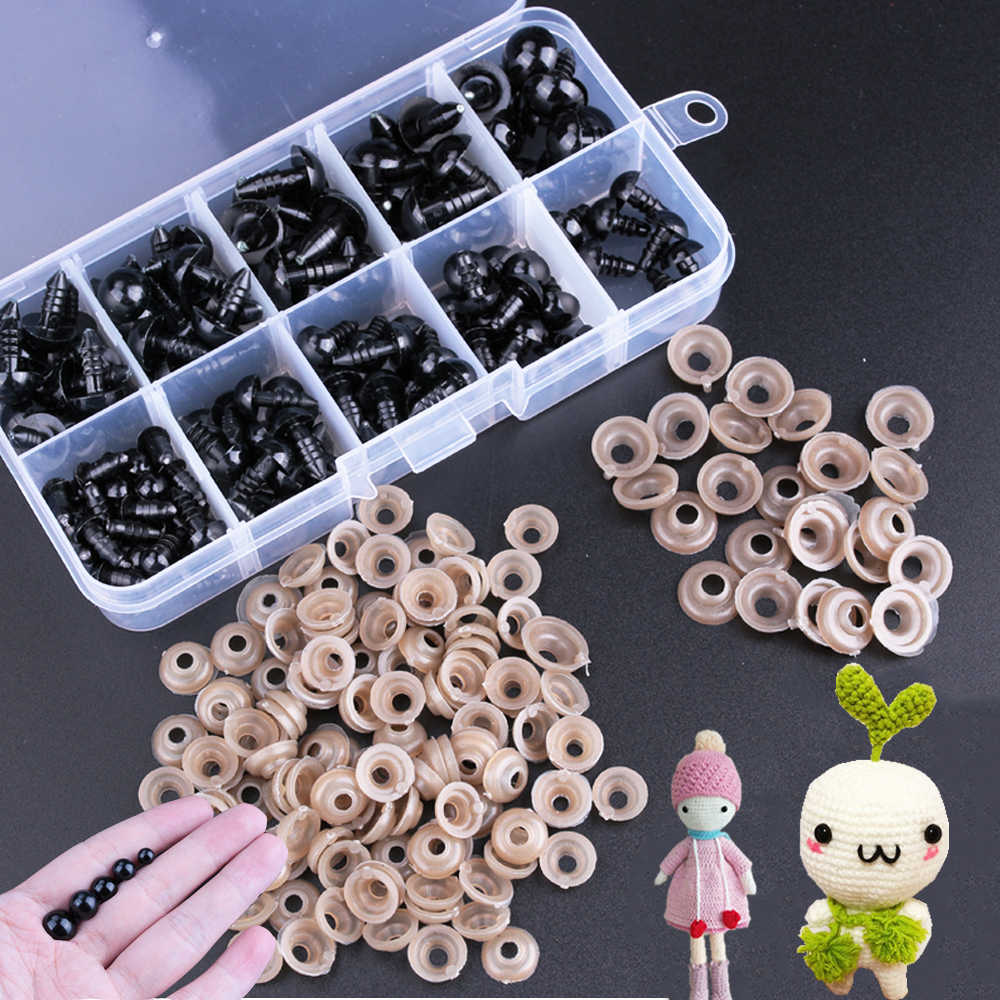 100/142pcs Eyeball Doll Accessories Black Plastic Crafts Eyes for Toys 6-12mm DIY Funny Toy Eyes Accessories for Dolls