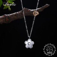 INALIS 925 Sterling Silver Women Elegant Flower Pendant Necklace Fine Jewelry Wedding Party Accessories With Shining