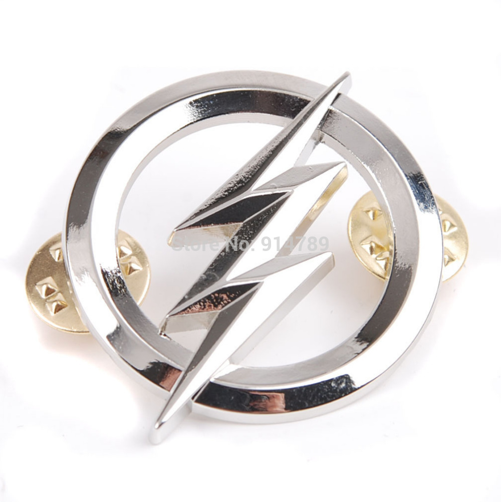 US THE FLASH METAL BADGES SILVER PERSONALITY BADGE-35808