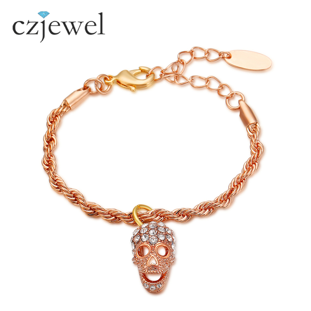 Women Skull Bangle Bracelet Rose Gold Color Twisted Wire Cable Cuff ...