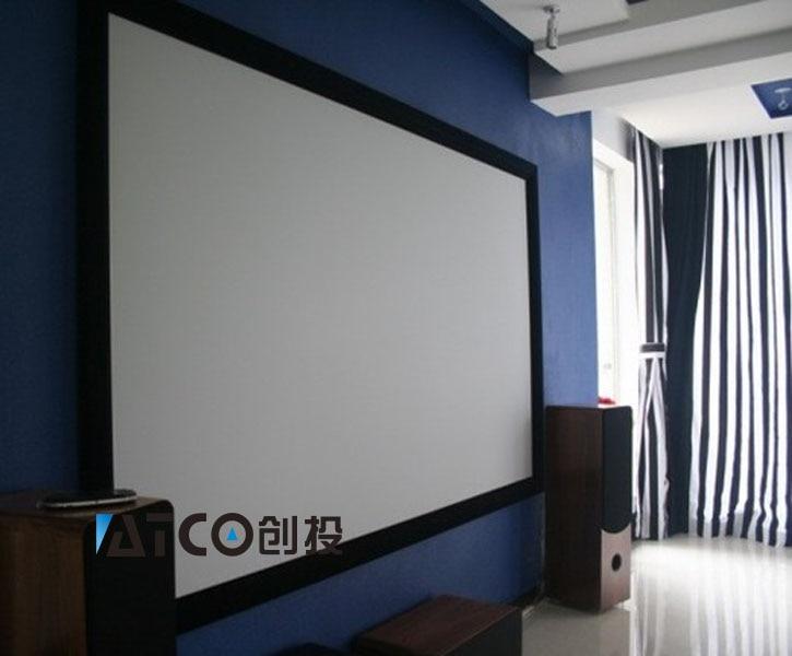 Buy 3d silver screen 120 16 9 aluminium edge hd fixed frame wall screen big - Home theater screen wall design ...