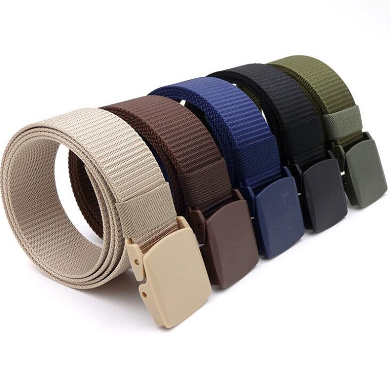 Men Female Belts Military Nylon Adjustable Belt Men Outdoor Travel Tactical Waist Belt with Plastic Buckle for Pants 130cm(China)