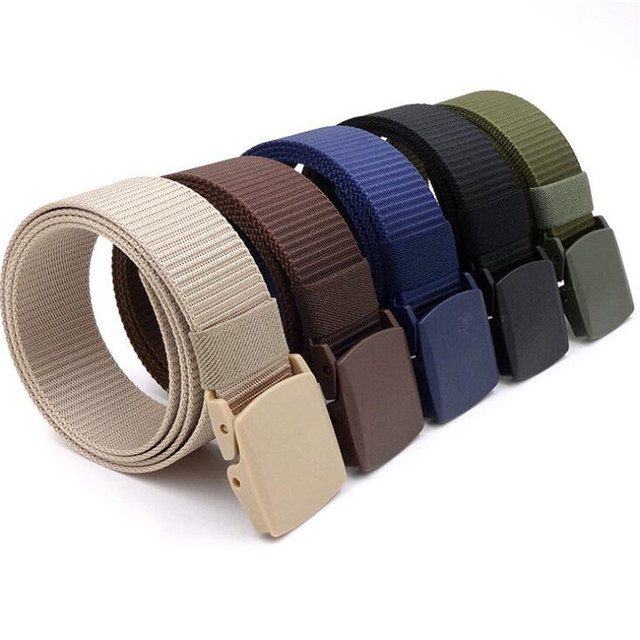 Men Female Belts Military Nylon Adjustable Belt Men Outdoor Travel Tactical Waist Belt with Plastic Buckle for Pants 130cm