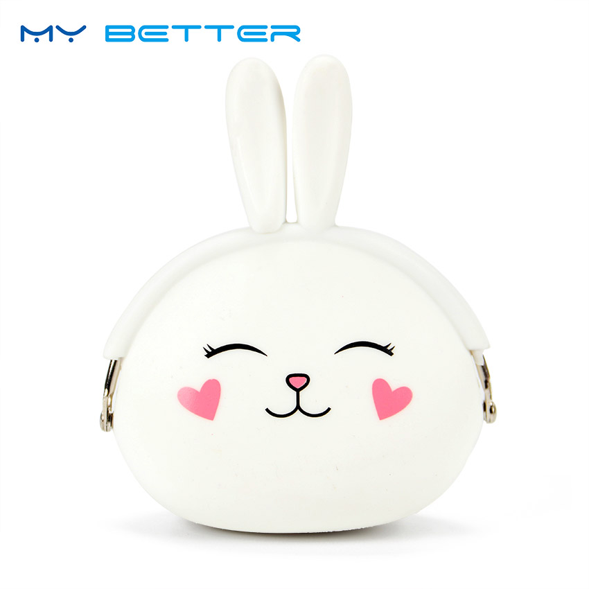 Fashion Coin Purse Lovely Cartoon Rabbit Pouch Women Girls Small Wallet Soft Silicone Coin Bag Kid Gift