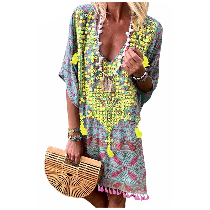 Fanceey Women Beachwear Summer Beach Dress Retro Multicolor Floral Tassel Tunic Beach Cover Up Dress Bikini Cover Up Pareo