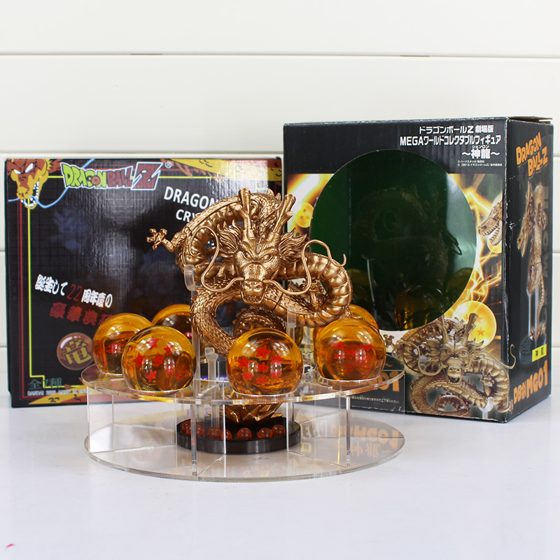 Dragon Ball Z Action Figures Golden and Green Dragonball Z Figures Set Esferas Del Dragon + 7pcs 4.5cm PVC Balls + Shelf dragon ball z shenron pvc figure figuras dbz dragon ball z model toy esferas del dragon 7pcs pvc balls shelf dragonball doll