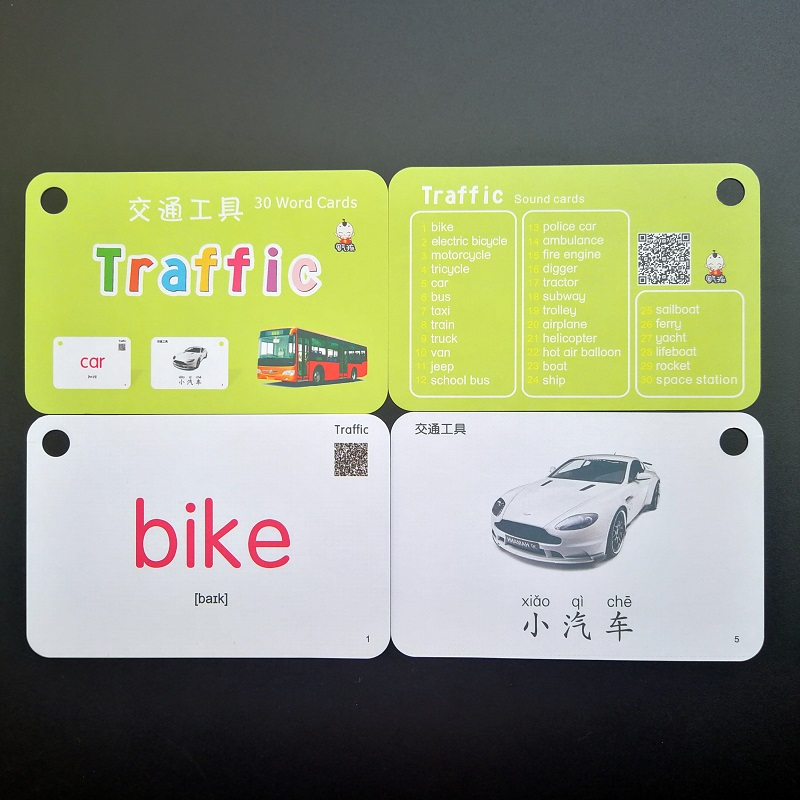 32 Pcs/Set Traffic And Sports Chinese & English Word Pocket Flash Card Children Learning Cards