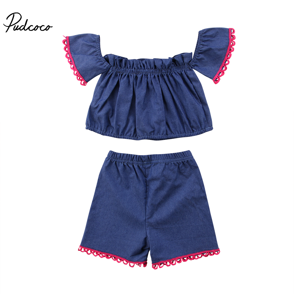 2018 Kids Infant Baby Girl Off Shoulder Tank Tops+Shorts 2Pcs Outfits Off Shoulder Summer Clothes Sets