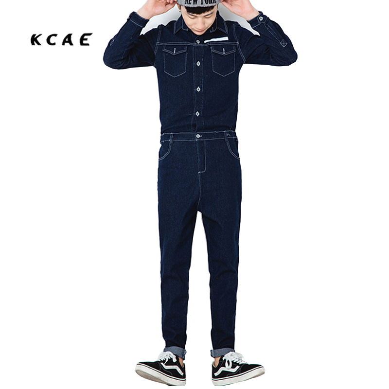 ФОТО Brand Mens Overalls Fashion Denim Overalls For Men Dark Blue Light Blue Male Pant Work Jeans 2017 New Spring Style High Quality