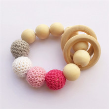5PCS DIY Handmade Crochet Wood Beads baby pacifier teething necklace dummy nursing teether font b bracelet