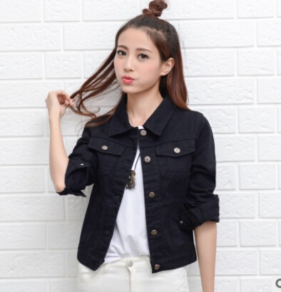 Denim Jacket Women Short Jeans Overcoat Ladies Jackets Tops cowboy jacket  Collar Slim White Black Jeans Women High Quality 064d7f89e357