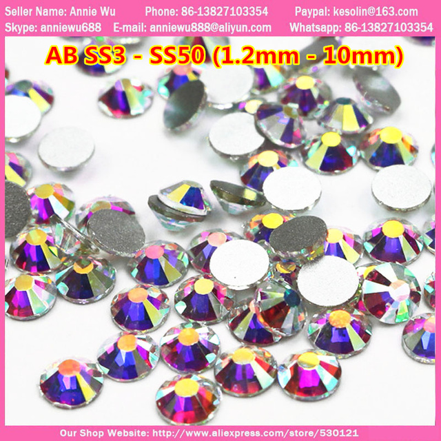 Free Shipping Good Feedback ss3 - ss40(1.2mm-7.4mm) 1440pcs Nail Art SS3 AB Crystals Jewlery 3D Nail Art Rhinestones Decoration