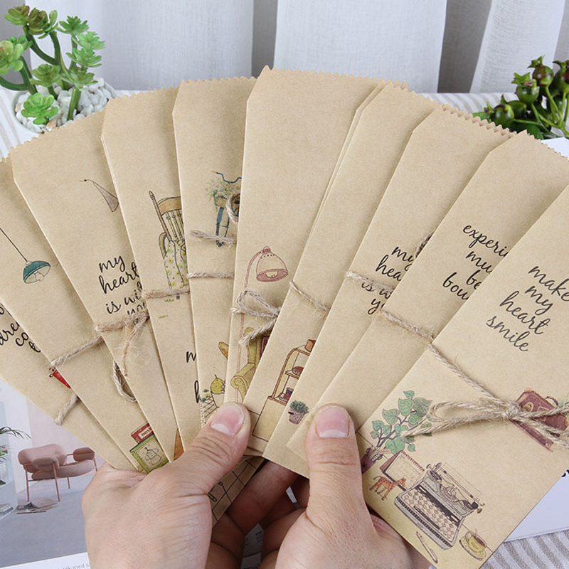 20 Pcs/lot Vintage Kraft Envelope Gift Cute Child Daily Lift Cartoon Paper Envelopes Letter Wedding Invitation Stationery