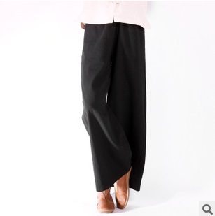 Fall 2015 new product launch, original design high quality 45% cotton 55% linen loose women of big yards wide leg trousers