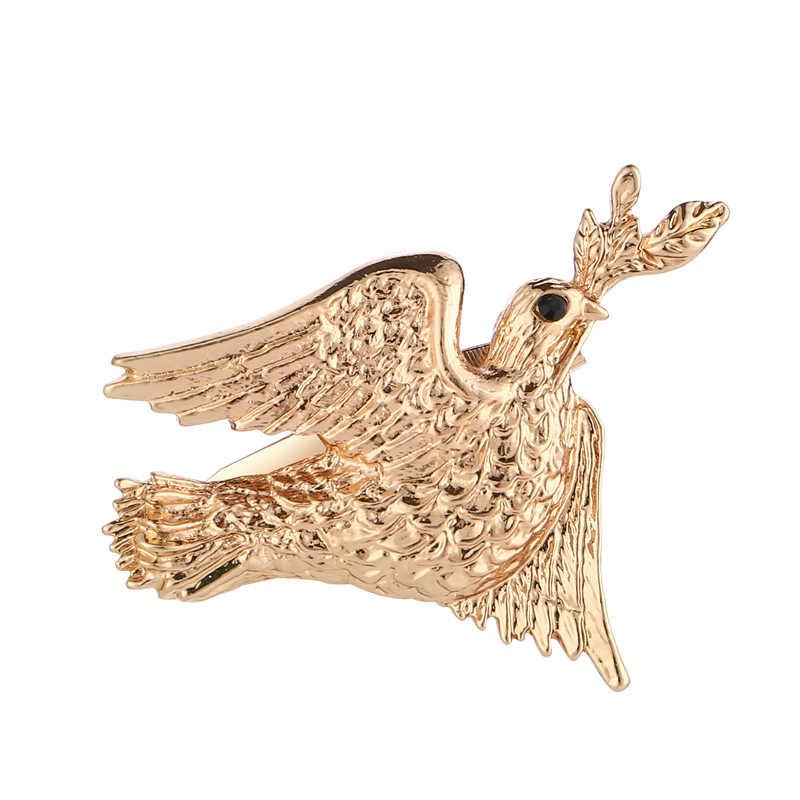 Золотая брошь в виде голубя мира булавки с оливковым брошь с растительными мотивами шпильки голубь брошка броши в форме животных для Для женщин шарф прищепки ювелирные изделия