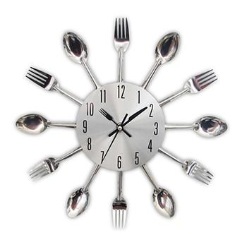 Cutlery Metal Kitchen Wall Clock Spoon Fork Creative Quartz Wall Mounted Clocks Modern Design Decorative Horloge Murale Hot Sale 11