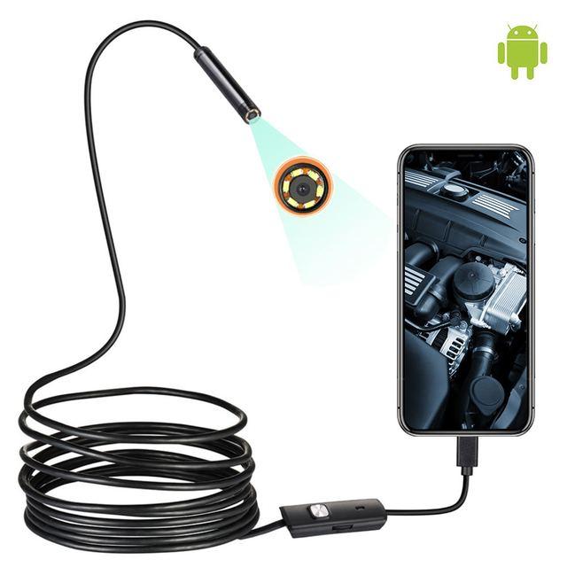 1/1. /2M Mini Endoskop Kamera 7MM 6LEDs Ayarlanabilir IP67 Su Geçirmez Muayene Borescope Kamera Pencereler Için Macbook PC Android