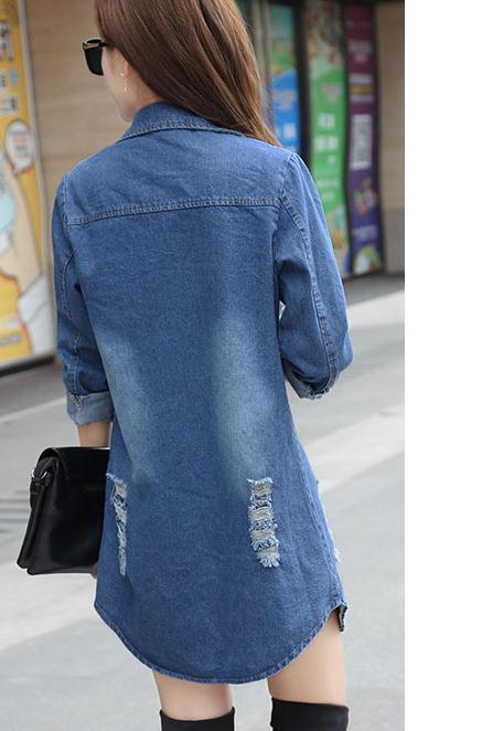 2018 Bleu Lâche Confortable Veste Longueur Taille Manteau Style Coréen Et Automne Printemps Moyen Grande Nouveau Cardigan Femme Cowboy rUn7FTrqxw