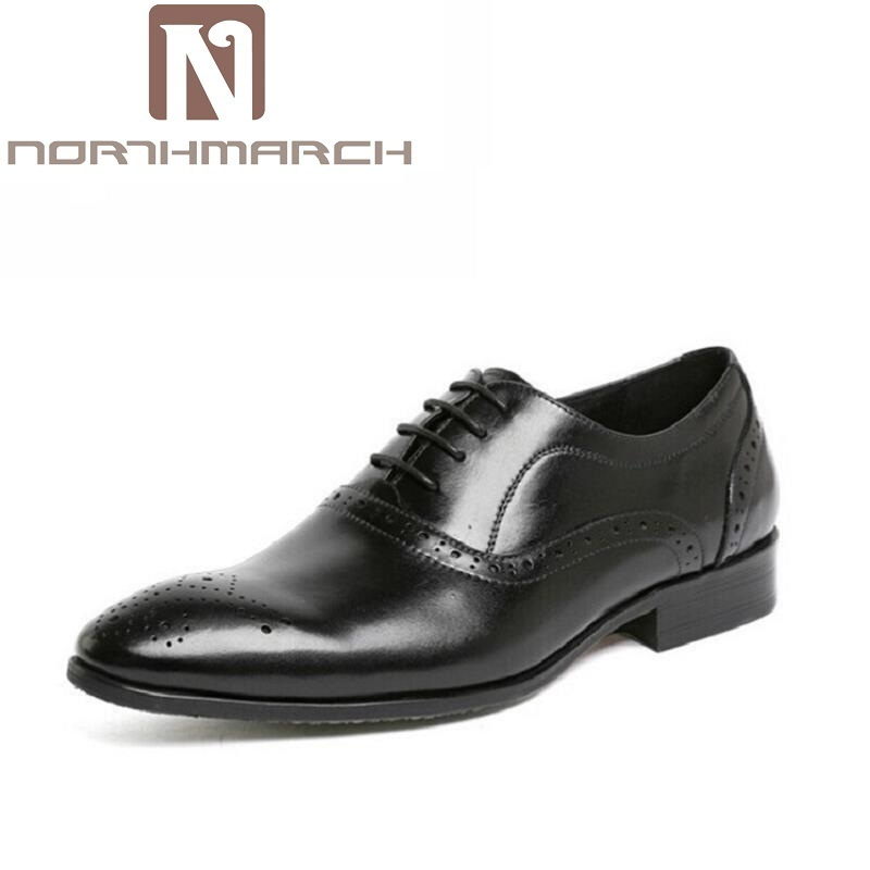 цена NORTHMARCH Brand Formal Dress Men Shoes Black Leather Brogue Business Classic Office Mens Casual Oxford Italian Shoes sapatenis онлайн в 2017 году