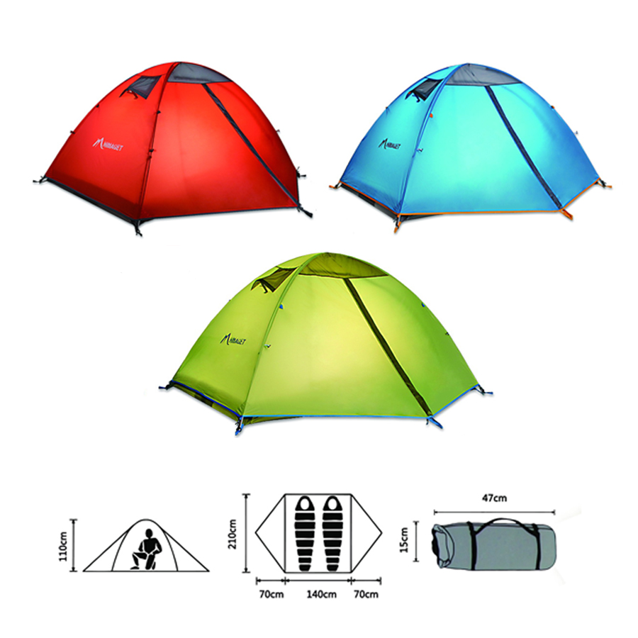 Outdoor 2 Person Double-layer Camping Tent Waterproof Beach Tent Hiking Tent For Family Use hewolf 2persons 4seasons double layer anti big rain wind outdoor mountains camping tent couple hiking tent in good quality