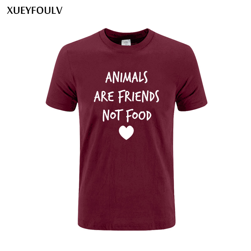 ANIMALS ARE FRIENDS not food Letters Print men tshirt Cotton Casual Funny t shirts For man Top Tee Hipster Drop Ship XF-386