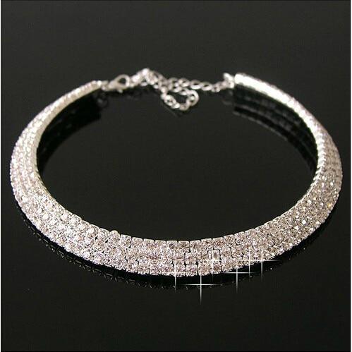 Drehmomente Temperamentvoll Xl316 New Engagement Hochzeit Echte Legierung Versilbert Schmuck Kette Kristall Halskette Frauen Zubehör