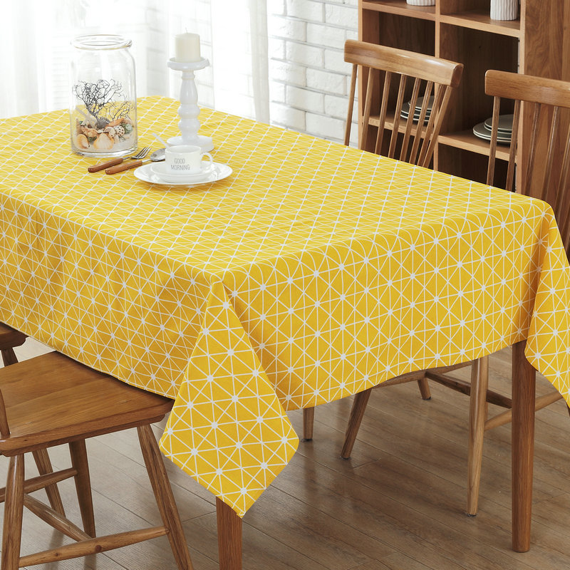Solid color Lattice Table cloth Yellow Black Plaid Multi Function Cotton Line Dinner Tablecloth Waterproof Oilproof Table Towel