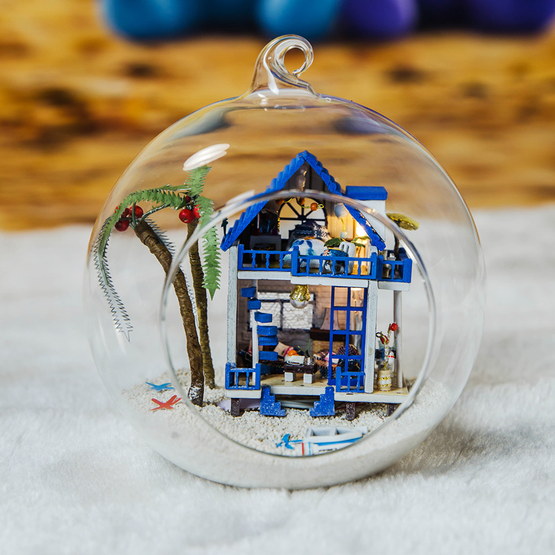 Elegant DIY Dollhouse With Furnitures Glass Ball Micro Landscape Craft Ornament Handmade Casa Gift Toys For Kids G008 #D