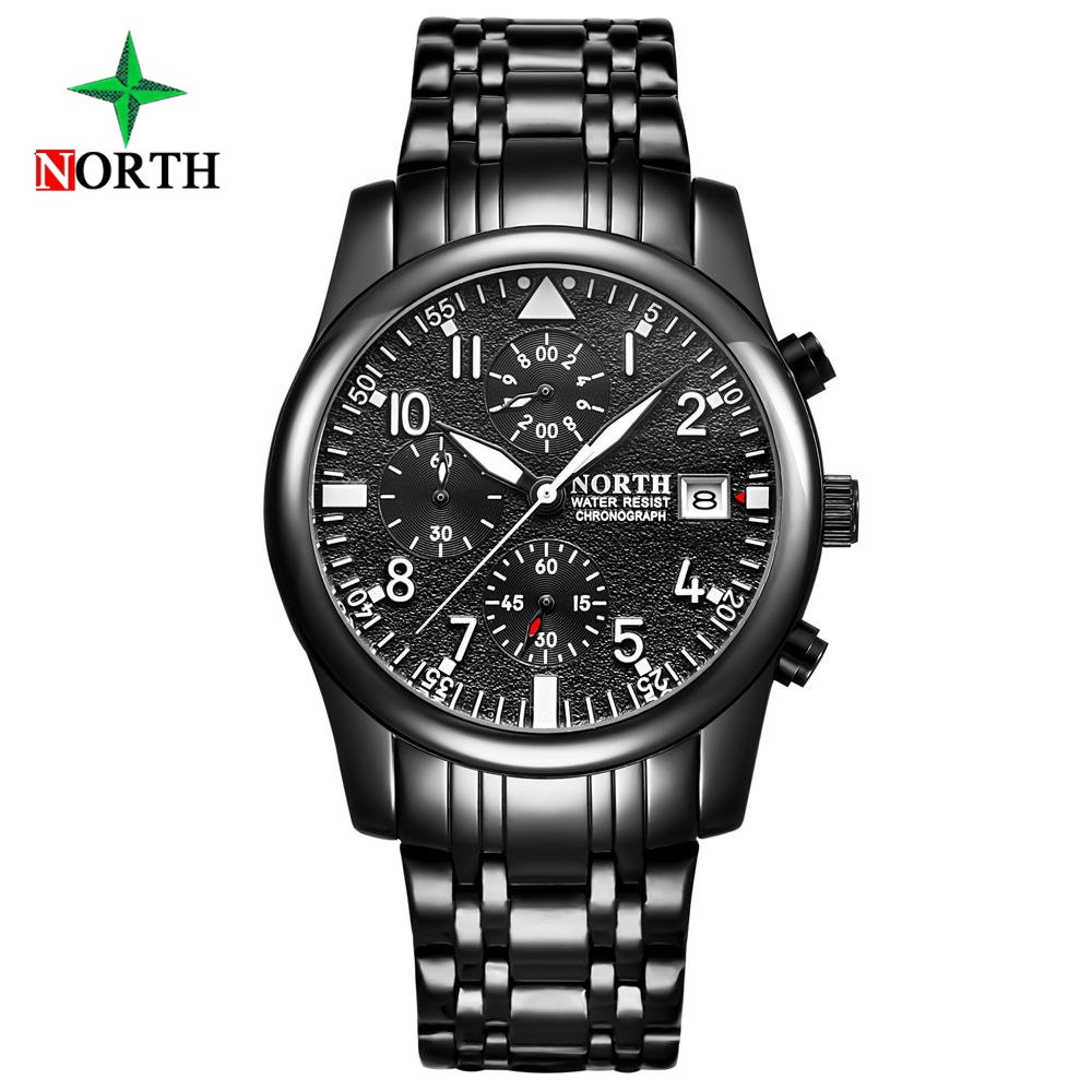 North Brand Black Unique Watch Men Stainless Steel Chronograph Business Casual Dress Sport Mens Watch Waterproof Gift ClockNorth Brand Black Unique Watch Men Stainless Steel Chronograph Business Casual Dress Sport Mens Watch Waterproof Gift Clock