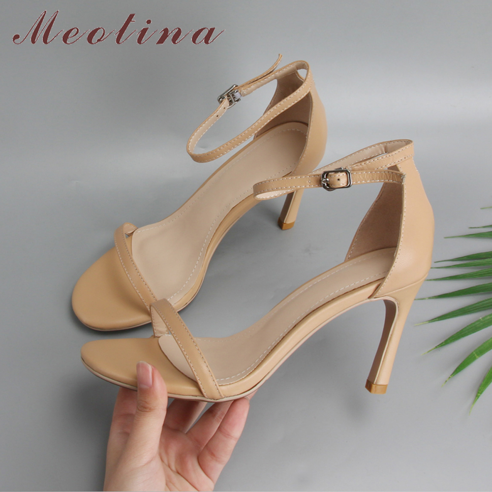 Meotina disainer kingad ehtne nahk kõrged kontsad sandaalid suve - Naiste kingad