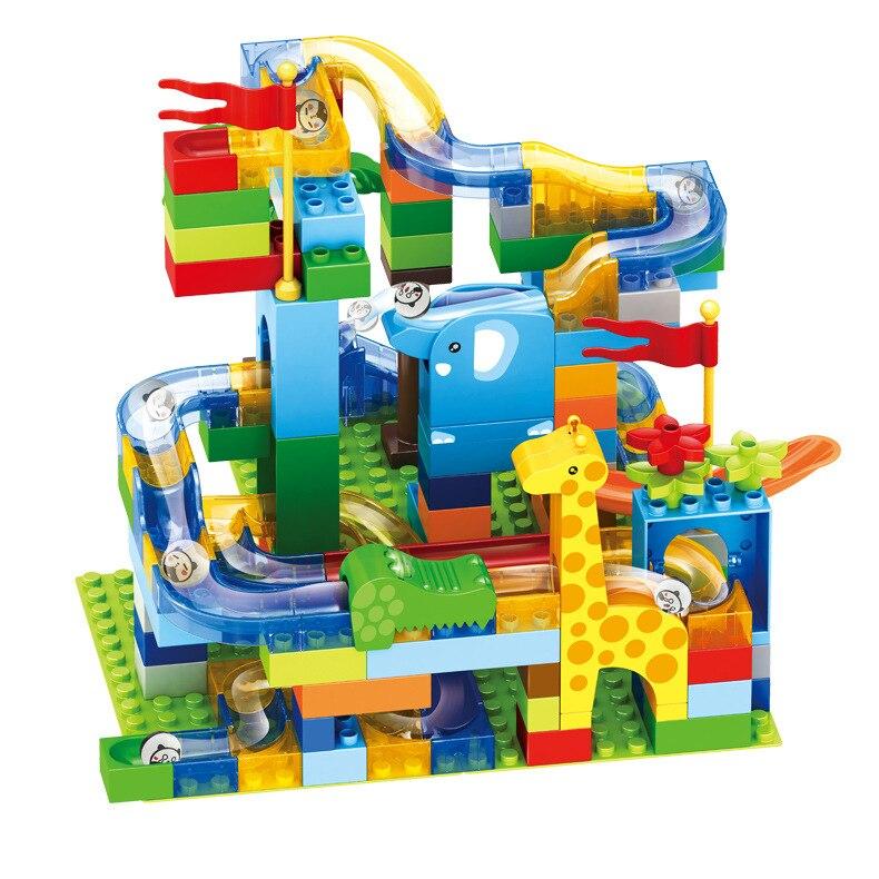 168 pçs mármore corrida labirinto bola slide pista cidade blocos de construção plástico crianças educacionais montar brinquedos para crianças presentes 6