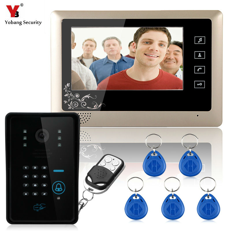 Yobang Security 7 LCD monitor Speakerphone intercom Color Video Door Phone doorbell 5pcs RIFD access Control System doorphone yobang security video doorphone camera outdoor doorphone camera lcd monitor video door phone door intercom system doorbell