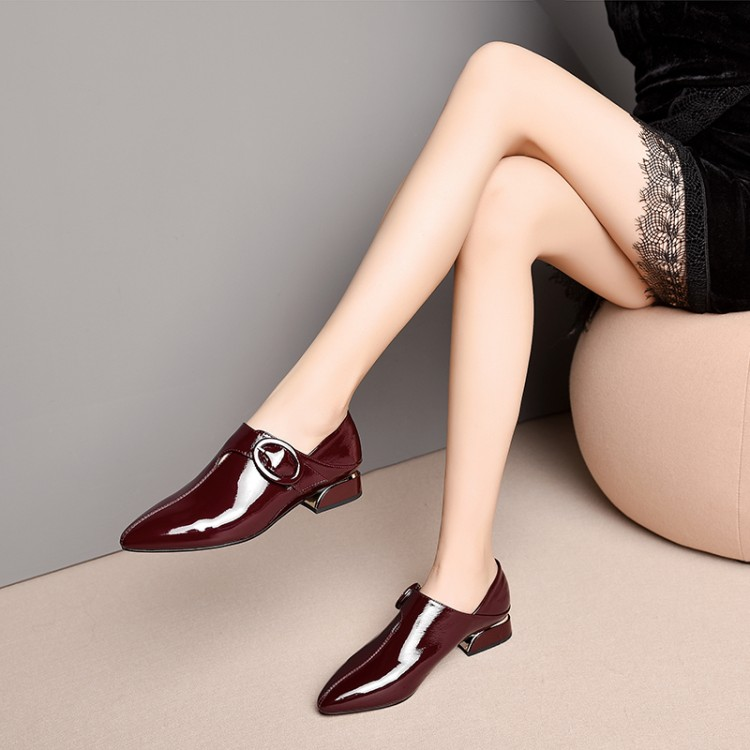 MLJUESE 2019 women pumps Cow leather buckle strap wine red color autumn spring pointed toe low