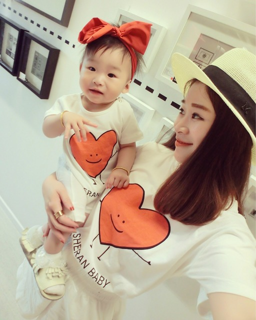 2016 summer mother T shirt family matching clothes children short sleeve baby romper mother and daughter son clothes
