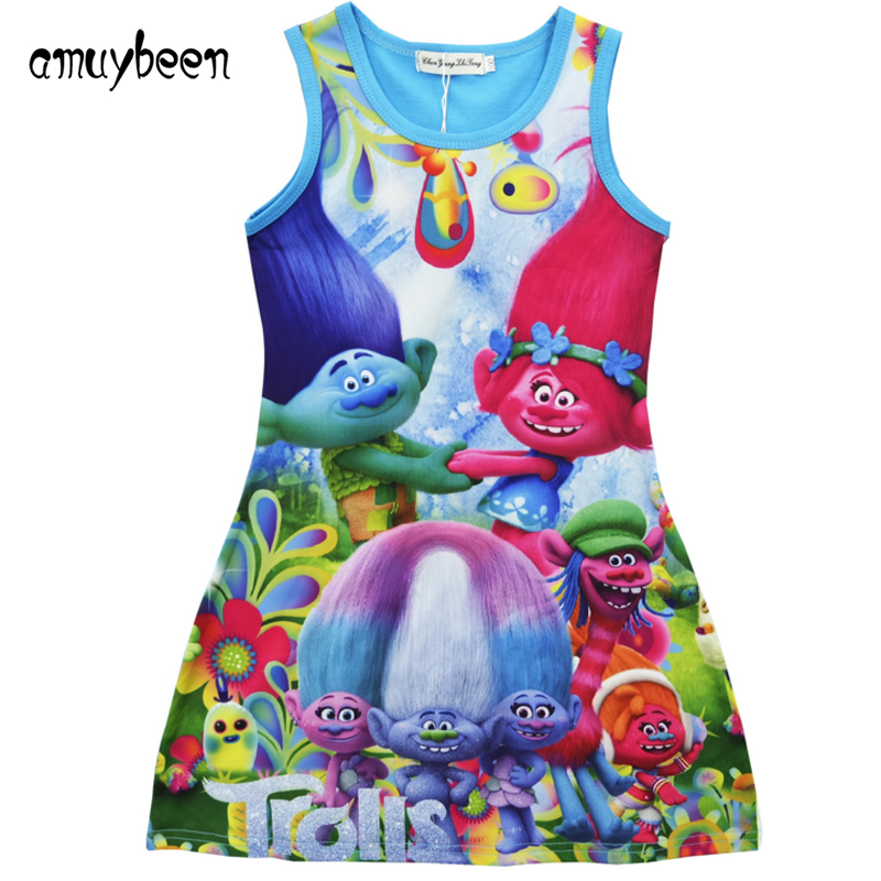 Amuybeen 2017 New Fashion baby Girl Clothes Summer Cotton Trolls Vest Dress Children Casual Clothing Baby Kids Dress for Girls