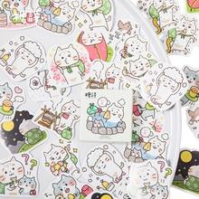 45pcs/box Kawaii Cat Travel Diary Decoration Stickers DIY Adhesive Scarpbooking sealing Label Sticker Children Stationery