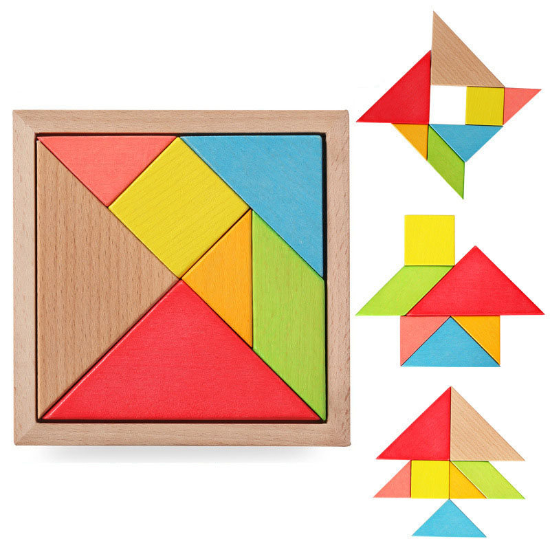 BOHS Educational Toys Wooden Multicolour Tangoing Tangram Puzzle Toy 14x14x1cm