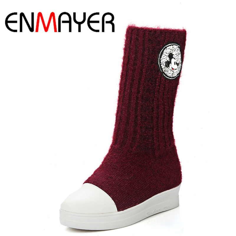 ФОТО ENMAYER Sexy Red Shoes Woman Half Boots Round Toe Large Size 34-43 Mid-calf Boots for Women High Heels Autumn and Winter Boots