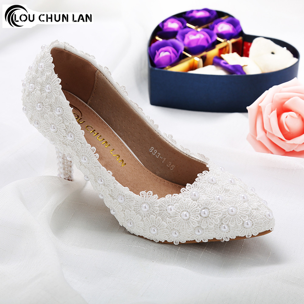 Shoes Women Pumps New Arrival High Quality Shoes White Wedding Shoes Female Flower Lace Pearl Shoes Bridal Shoes 7CM Heels