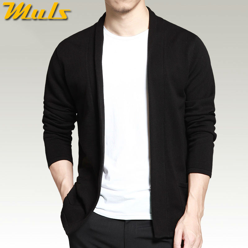 Men cardigan Shawl long sleeve black color Spring Autumn casual ...