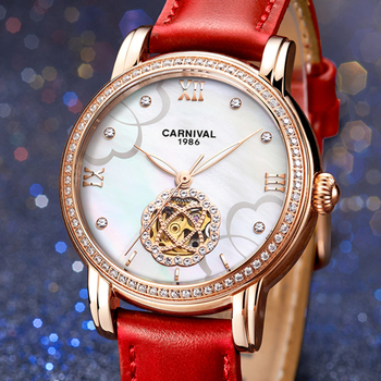 Switzerland Carnival Top Luxury Brand Watch Women Automatic Mechanical Ladies Watches Diamond Skeleton Sapphire Clock C6806-1