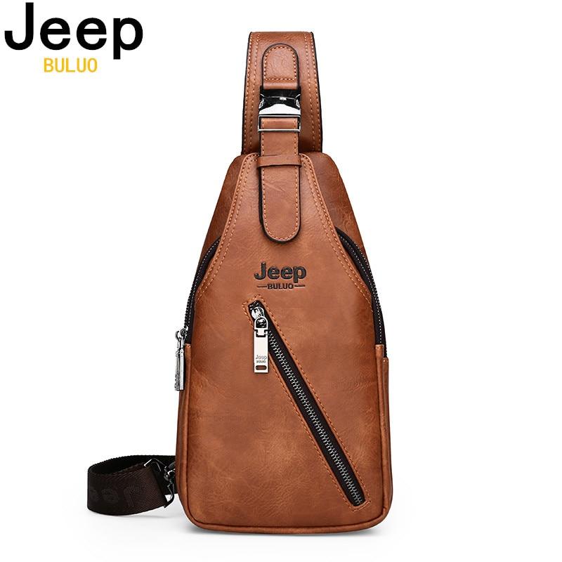 JEEP BULUO Brand Men's Large Capacity Chest Sling Bag Travel Hiking Cross Body Messenger Shoulder Bags Solid Men Leather Bag