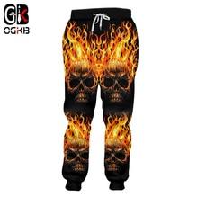 Sweat-Pants Skull Streetwear Casual Punk Men's New Man Spring OGKB Fall Flame Hiphop