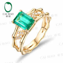 CaiMao 1.32 ct Natural Emerald 18KT/750 Yellow Gold 0.06 ct Full Cut Diamond Engagement Ring Jewelry Gemstone